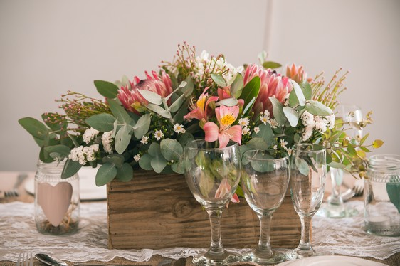 Wooden Planter Box Table Arrangements