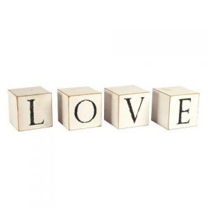 "WORDS ""LOVE"" Wooden Square Blocks White"