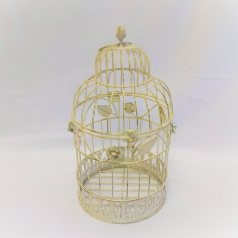 Birdcage Round Cream Bird Leaf Large