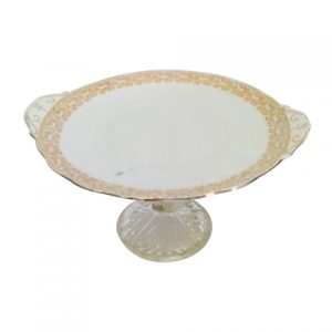 Cake Stand Tier Gold White Crystal