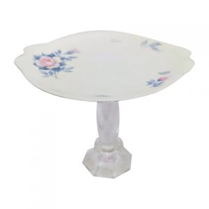 Cake Stand Tier Pink Rose Grey Leaf Crystal
