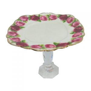 Cake Stand Tier Pink Roses Square