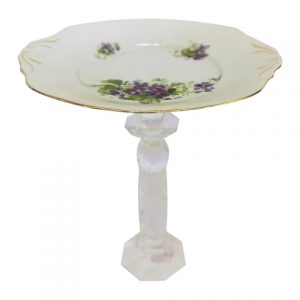 Cake Stand Tier Purple Flower Crystal