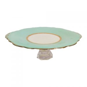 Cake Stand Tier Teal Gold Rim