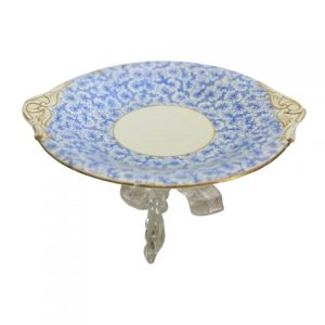 Cake Stand Blue White Gold Handle