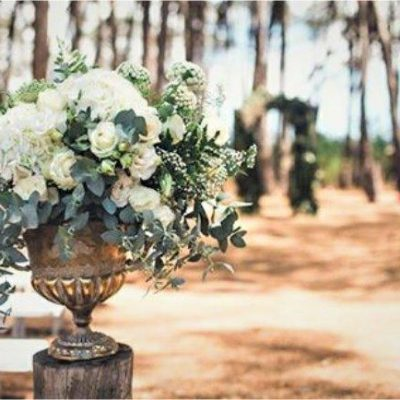 Floral Design Classic Silver Urn With Hydrangeas