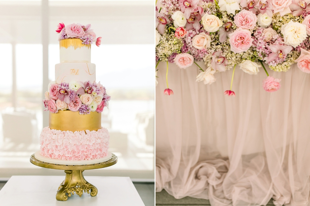 Wedding Cake Pastel Pinks Bridal table Hydrangeas Orchids Tulips Orchids