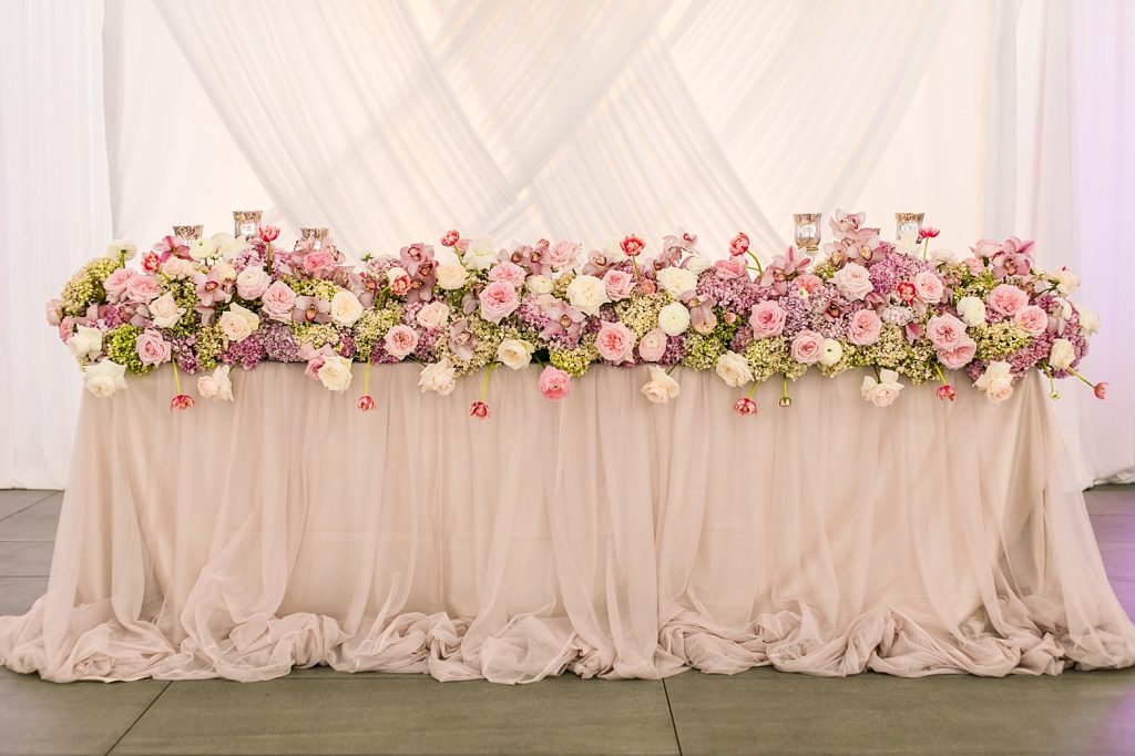 My Pretty Vintage Pastel Pink Bridal Table Flowers Hydrangeas Orchids Tulips Orchids