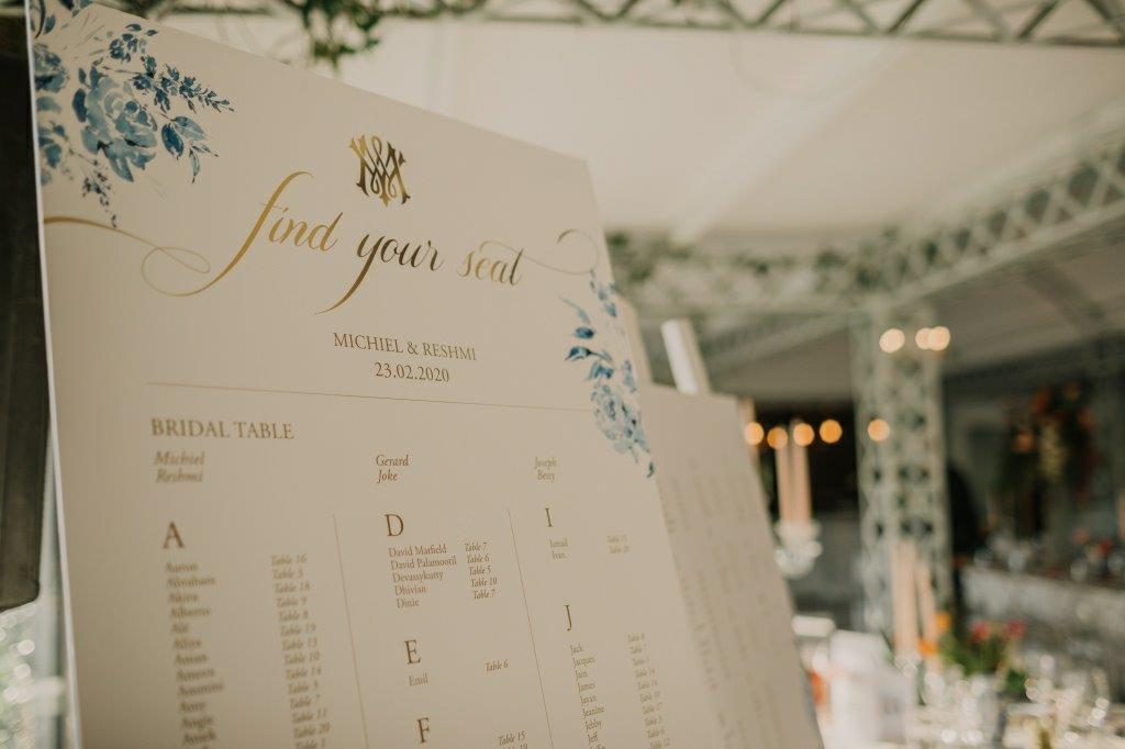 Find Your Seat, Delft Blue Flowers & Gold Writing My Pretty Vintage Wedding Planners