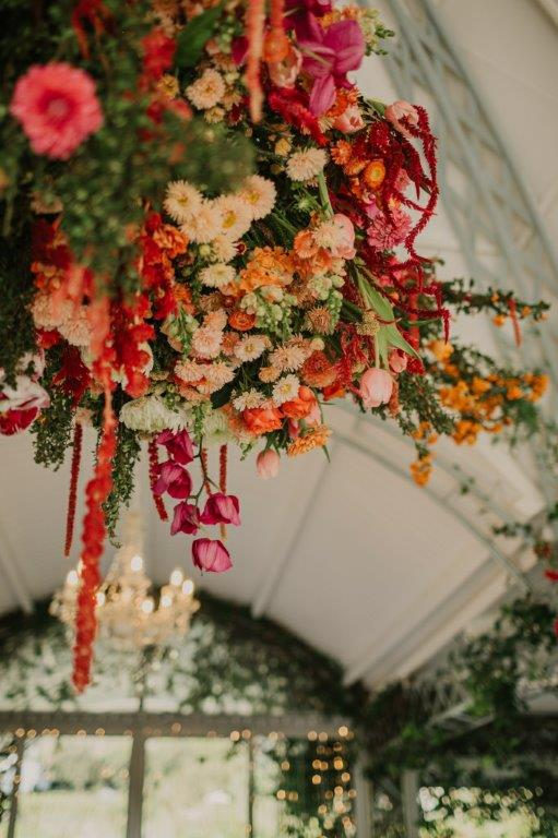 Hanging Ceiling Flowers & Rich Spicy Bougainvillea Arches