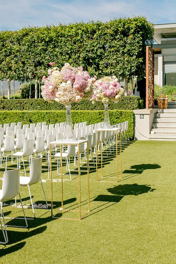 Pinks Hydrangeas Orchids Roses Tulips Wedding Ceremony Flowers