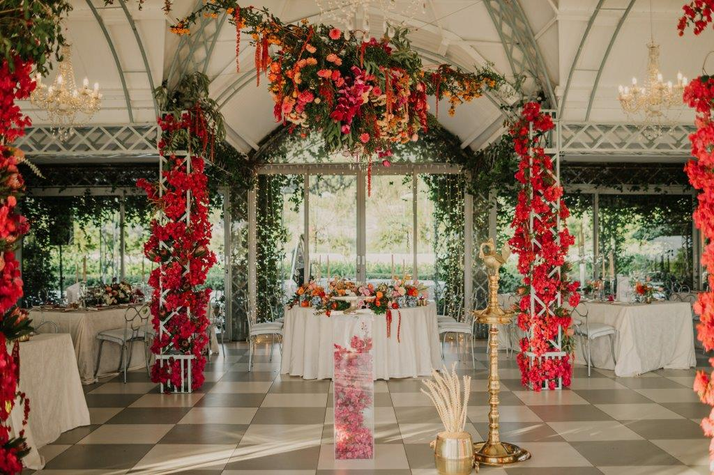 Wedding Ceiling Hanging Flowers, Chandeliers, Rich Spicy Tones Bougainvillea Arches