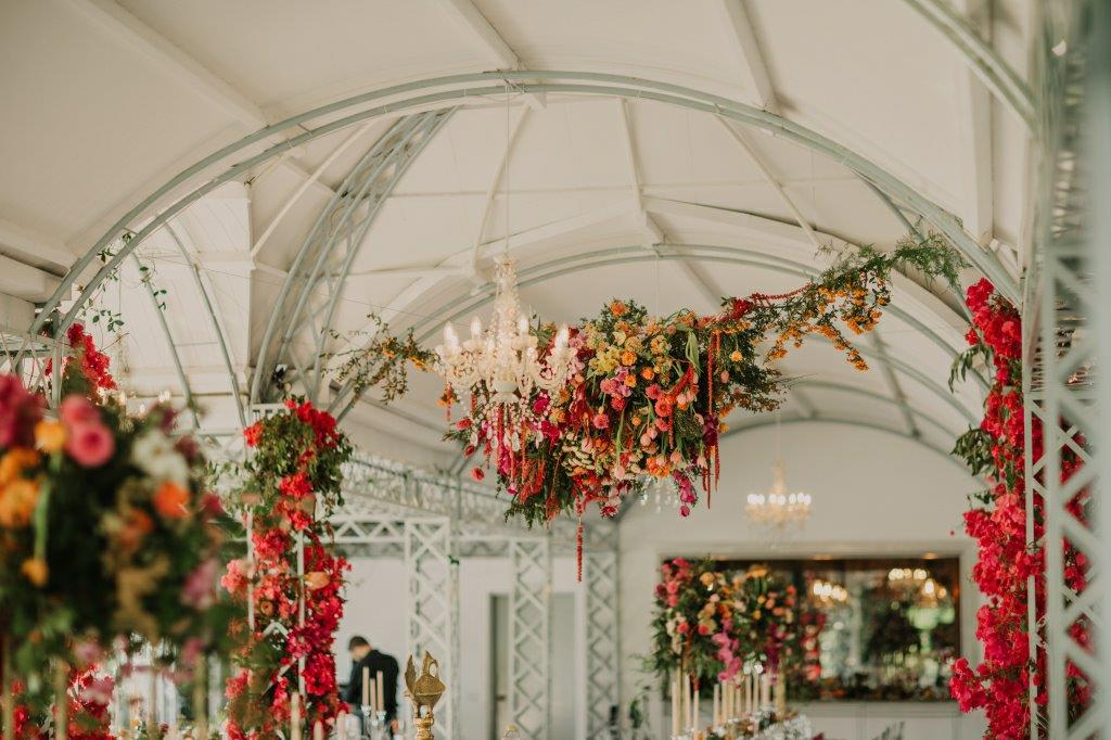 Hanging Ceiling flowers + Rich spicy Bougainvillea Arches