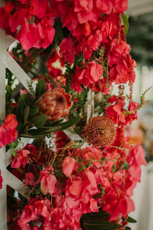 Hanging Ceiling flowers + Rich Spicy Bougainvillea & Protea Arches