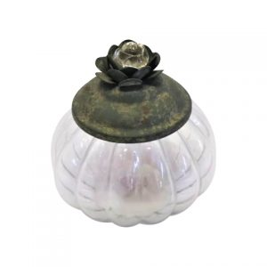 Sweetie Jar Grey Flower Lid