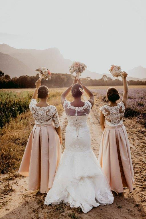 My Pretty Vintage Wedding Bouquets Bride & Bridesmaid Wineland Sunset