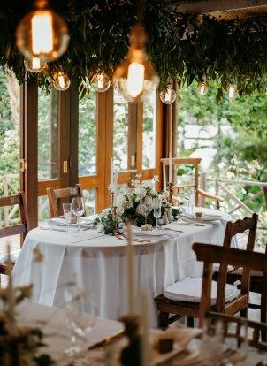My Pretty Vintage Intimate Elopement Romantic Wedding table and Lightning